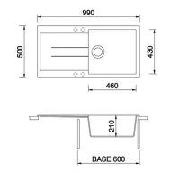 Technical Drawing for Italian Granite Sink - 1 Bowl w Drainer for