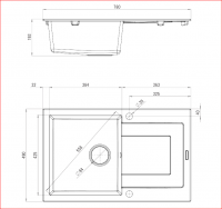 Technical Drawing of Rapido 1 Bowl Sink w Drainer for Kitchen