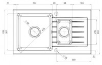 Zorba 1.5 Bowl Sink with Draining Board Drawing for Kitchen Plans
