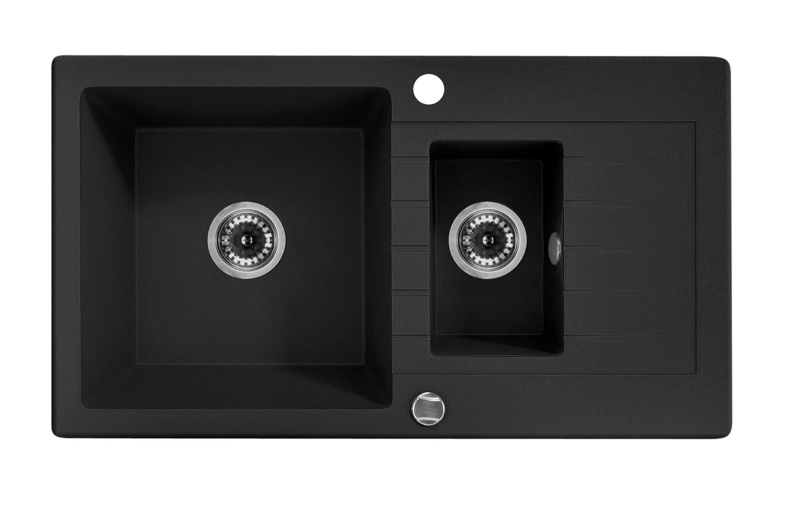 European Made Zorba 1.5 Bowl Granite Sink w Drainer for Kitchen