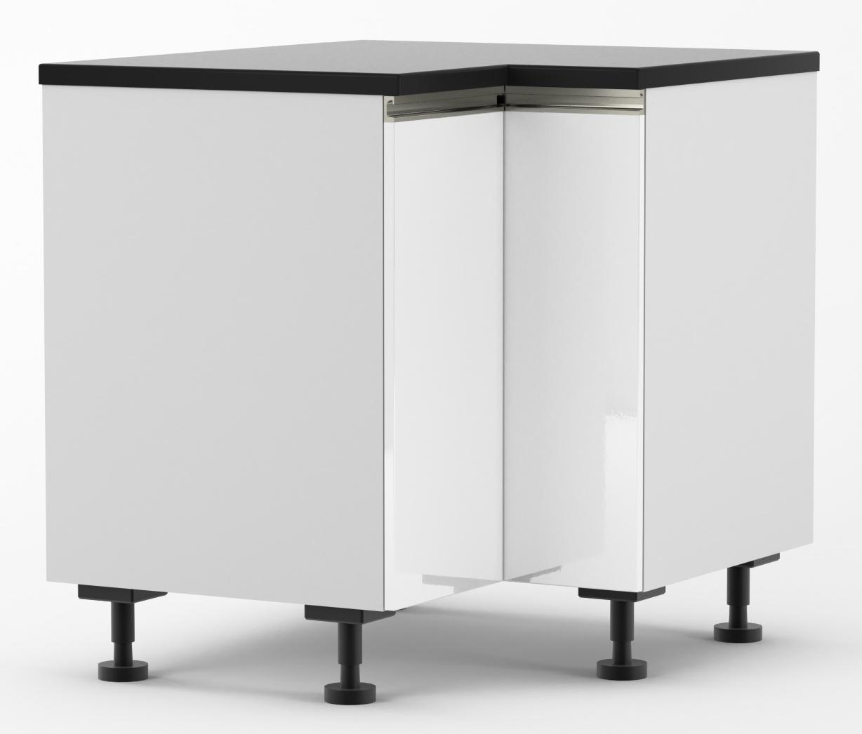 Venice - 900mm by 800mm Corner Base Cabinet - Venice Gloss White