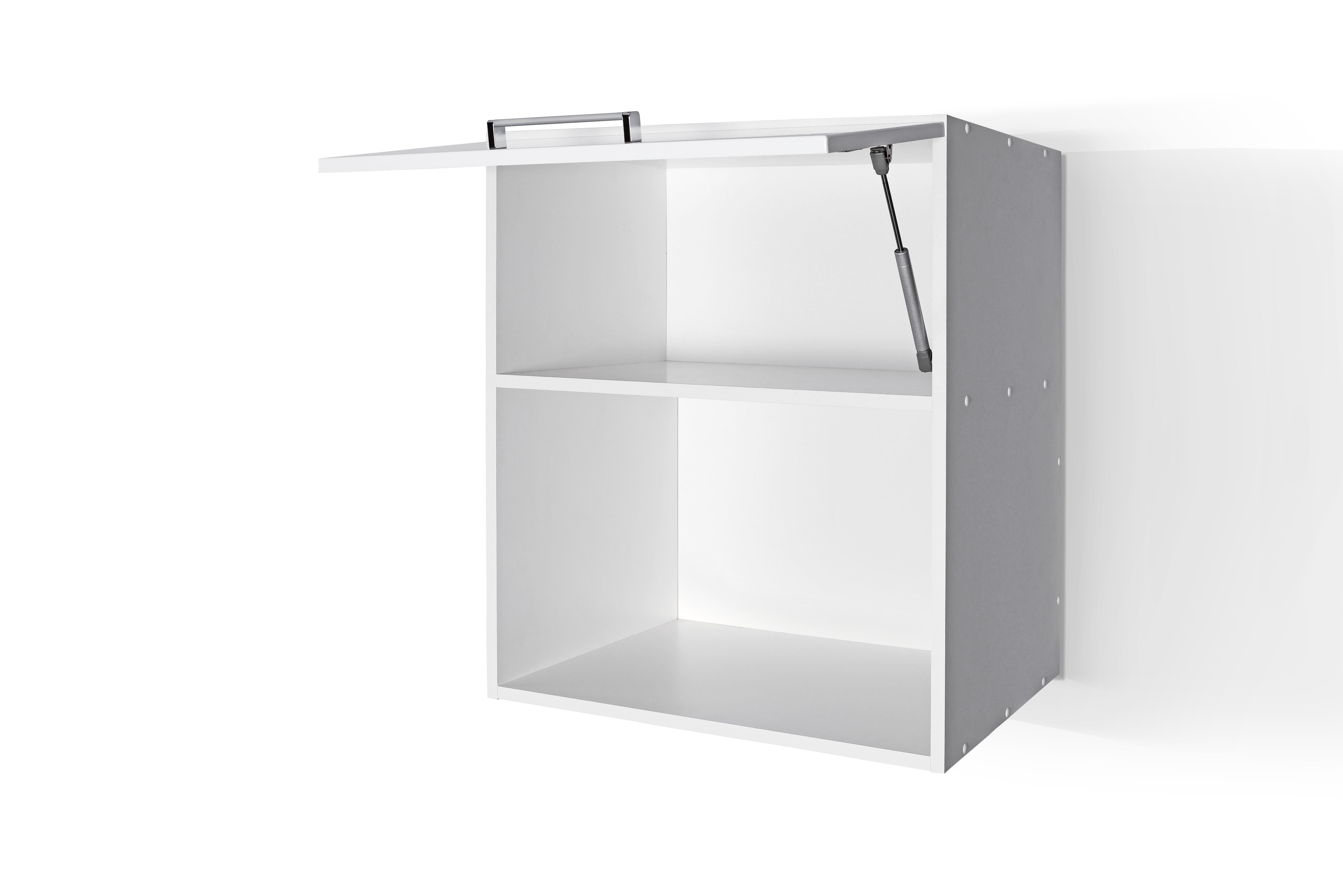 High Gloss White Wall microwave cabinet W601KMI Door Open for Kit