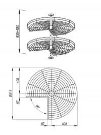 WE08.0105.01.002 - Revolving Metal Baskets Dimensions for Kitchen