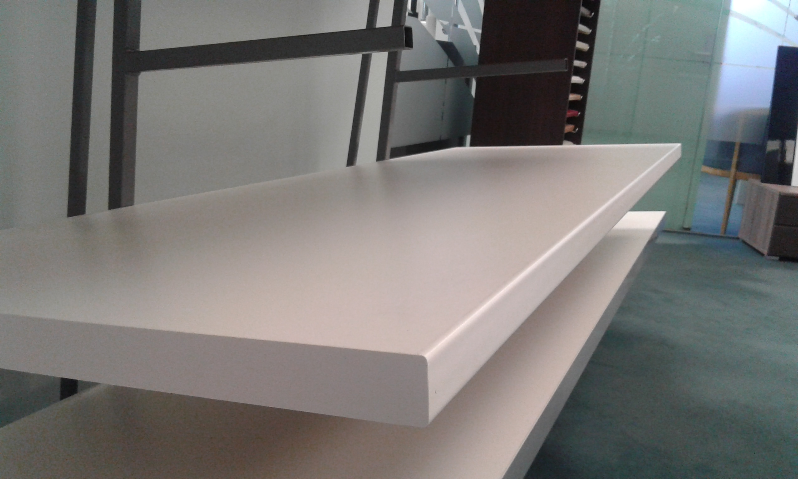 White Rounded Square Edge Standard Bench top Length View