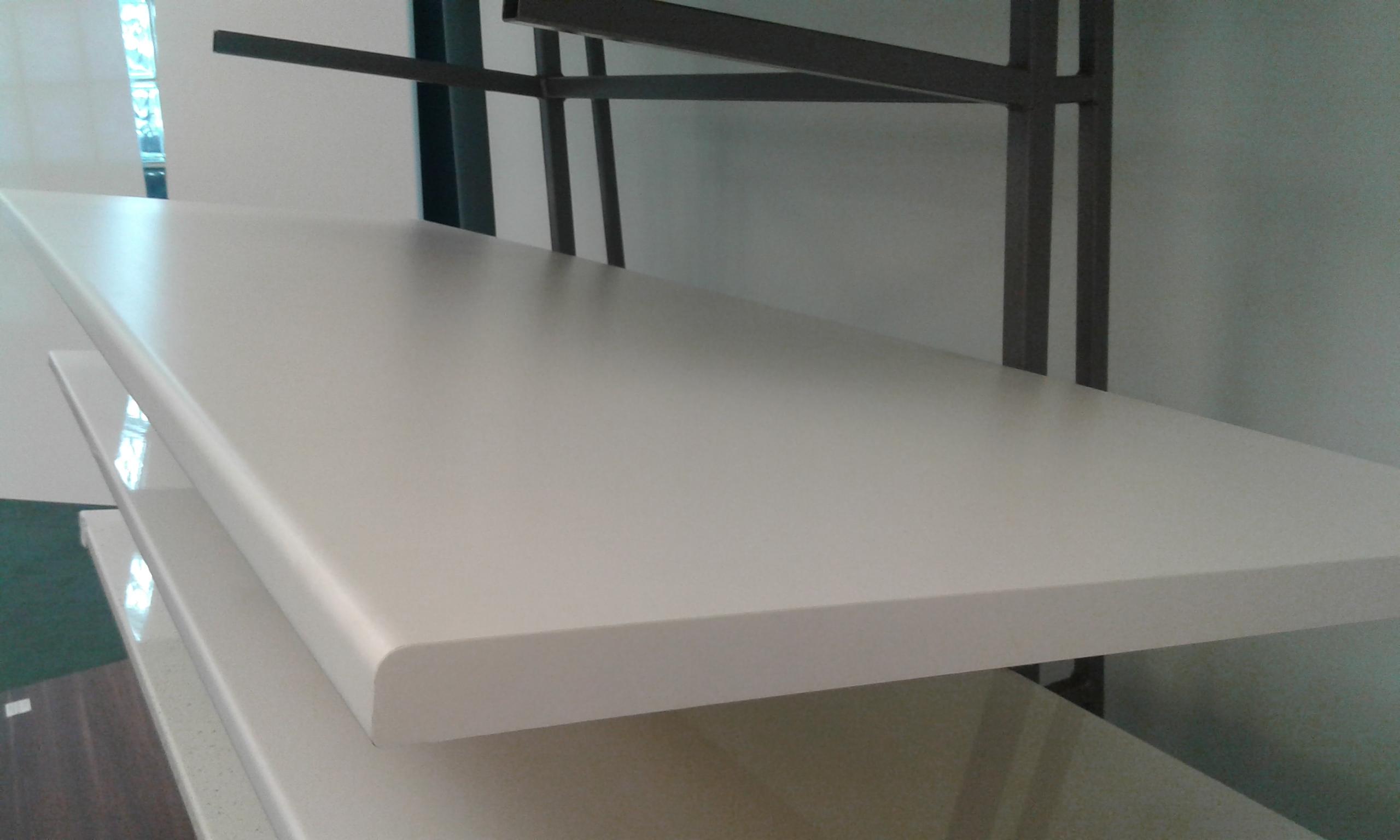 White Half Bullnose Standard Bench top Length View