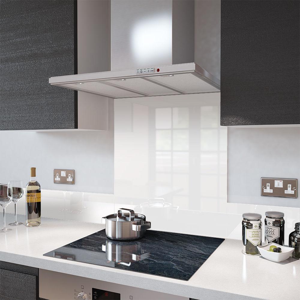 Glass Splashback White Colour Example for Kitchen