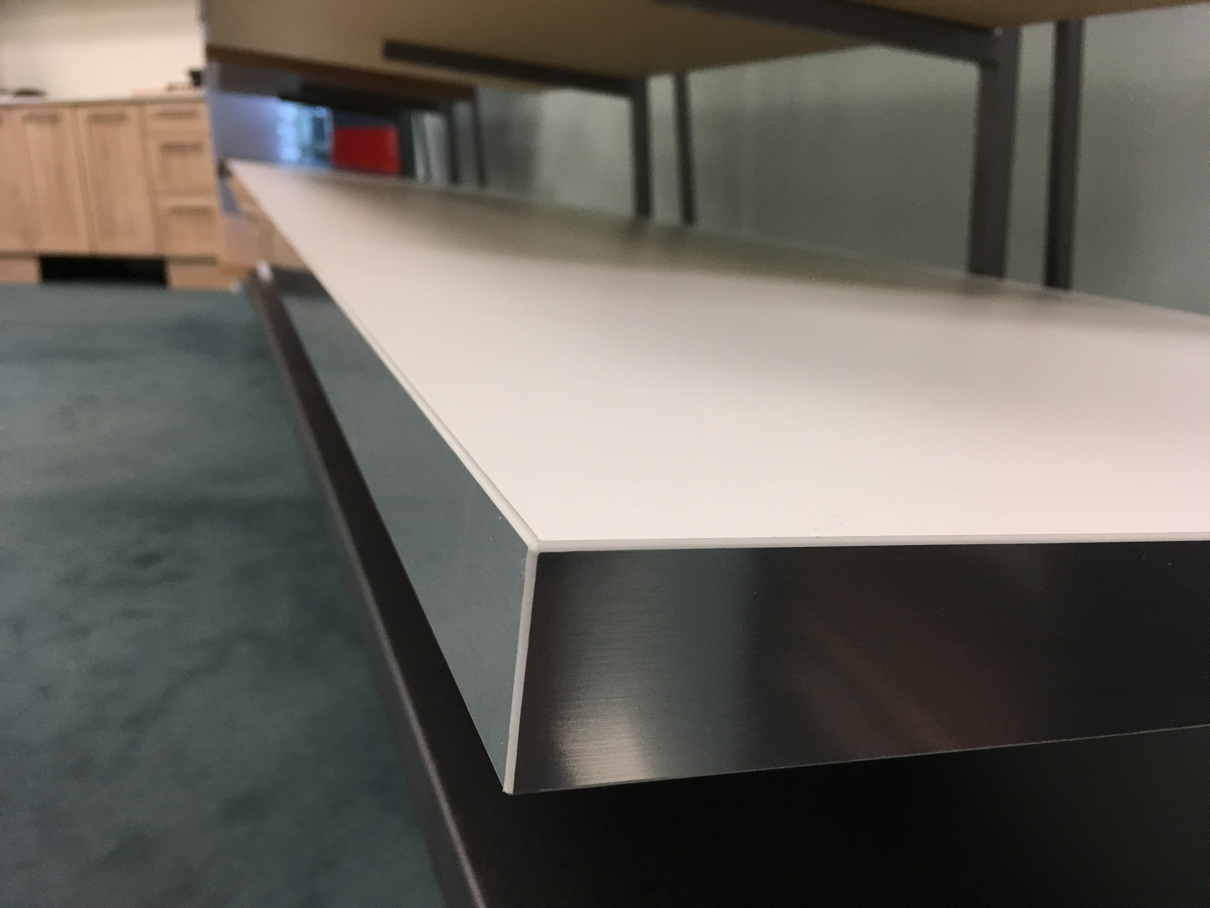 White w Silver Edging Standard Bench top 2 for Kitchen