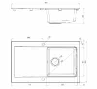 Dimensions Image for Modern 1-Bowl Granite Sink for Kitchen