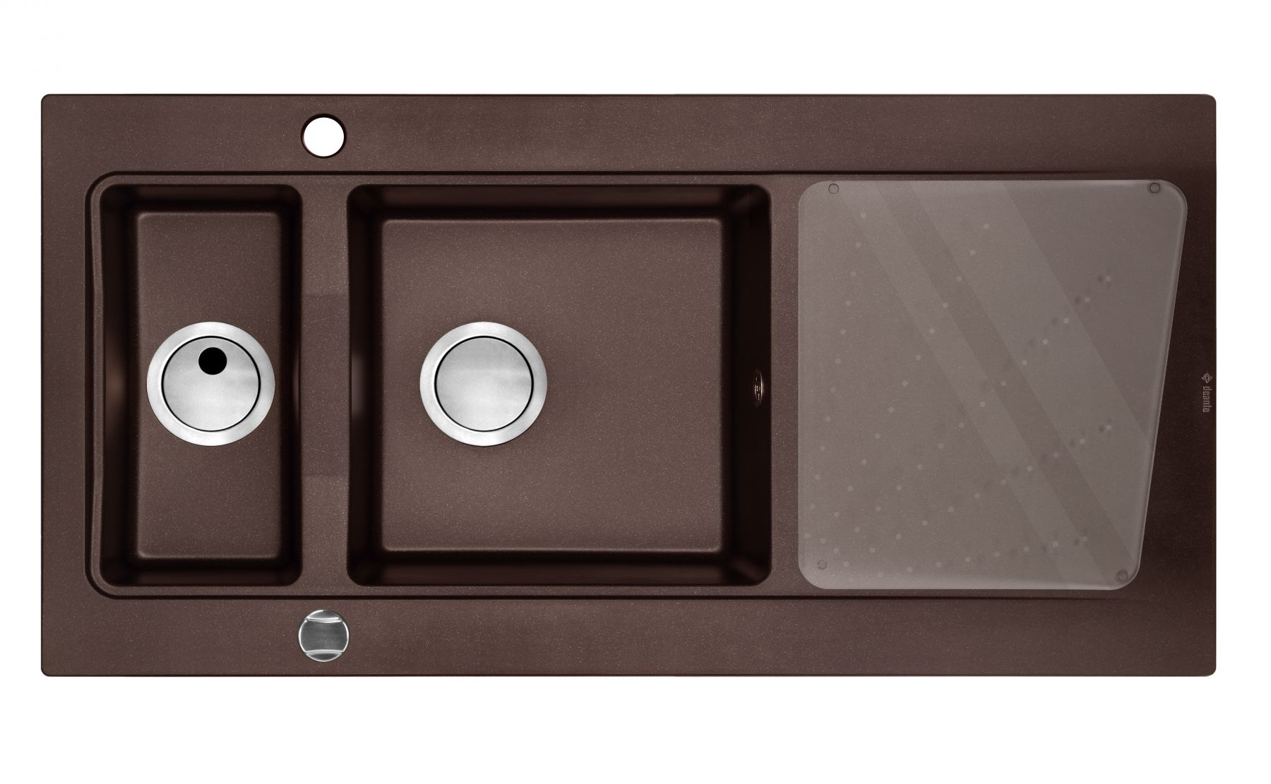 Modern 1.5 Bowl Sink with Drainer Brown Metallic for Kitchen