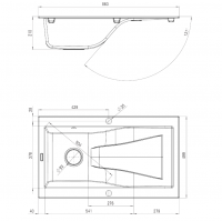 Dimensions Image for Rhapsodia 1 Bowl Granite Sink for Kitchen