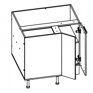 900mm/800mm wide corner base cabinet with soft close