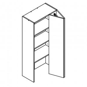 600mm wide/1320mm tall wall unit 1 door bi-fold