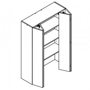 900mm wide/1320mm tall wall unit 2 door bi-fold